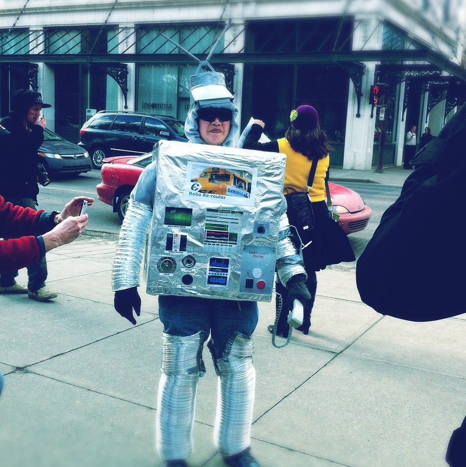 A protester dressed as an...er, CPC robocall machine? JMacPherson http://www.flickr.com/photos/lipstickproject/6974059565/