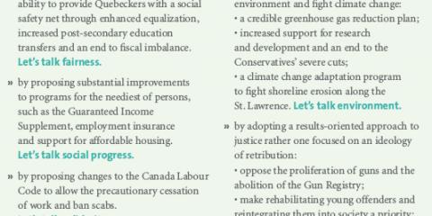 Let's see,Bloc Quebecois 2011 Platform