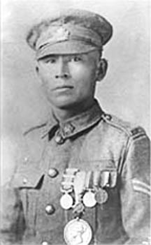 Francis Pegahmagabow in Youth and Uniform
