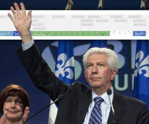 Bloc Quebecois Leader Gilles Duceppe waves goodbye at the end of his speech as his wife Yolande Brunelle is in tears Monday, May 2, 2011 in Montreal. Duceppe announced his resignation. THE CANADIAN PRESS/Jacques Boissinot