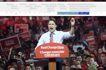 Liberal Leader Justin Trudeau addresses a campaign rally in Brampton, Ont. on Sunday, October 4, 2015. THE CANADIAN PRESS/Paul Chiasson