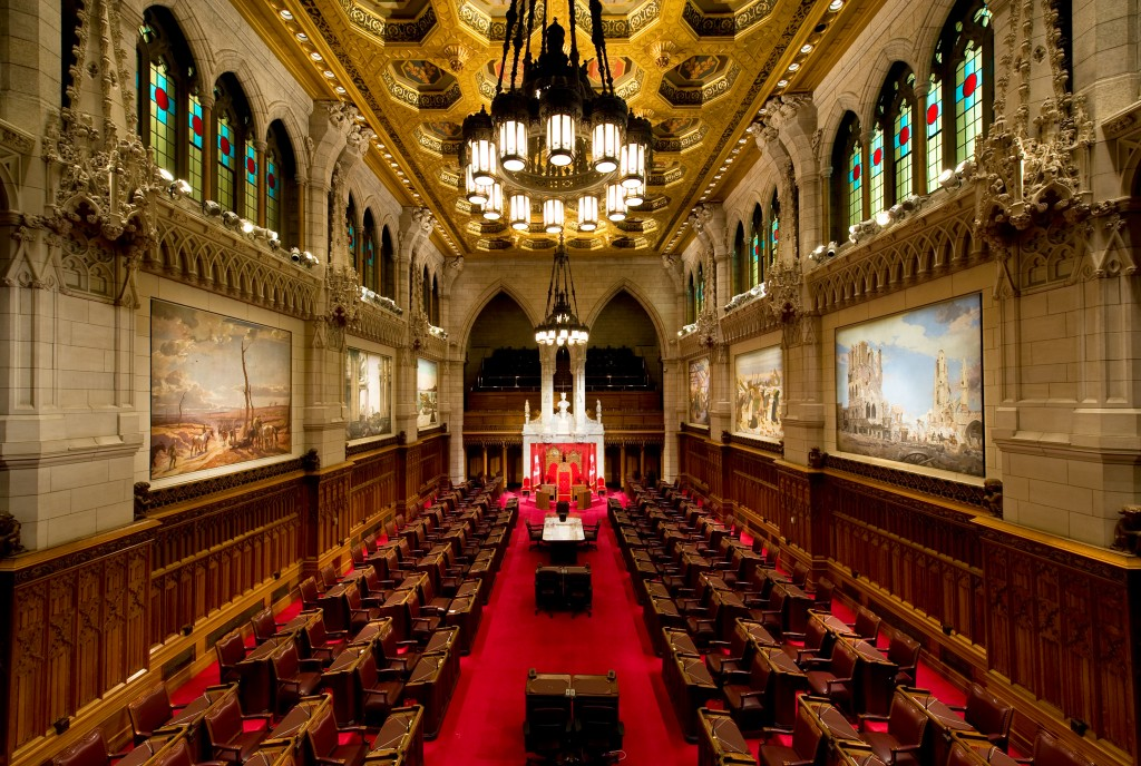The Canadian Senate, guaranteed to remain exactly the same until (at least) after the next constitutional crisis. Saffron Blaze http://en.wikipedia.org/wiki/File:Canadian_Senate_Chamber.jpeg