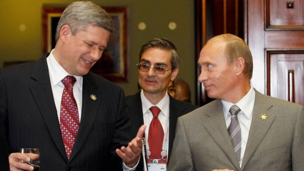 """[Canada has] already imposed [4-5] sanctions"" AFP/Getty Images http://www.cbc.ca/sports/hockey/nhl/harper-putin-not-playing-summit-series-hockey-galas-pmo-1.1209888"