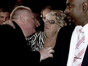 Rob Ford, seemingly clawing his mother at his grand campaign launch Thursday night,Peter J. Thompson