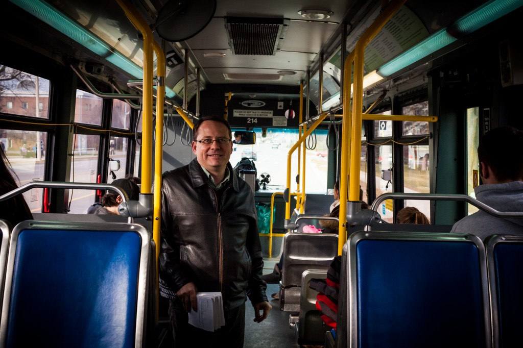 Ontario Green Party Leader Mike Schreiner taking a bus, because no one knows who he is.Mike Schreiner