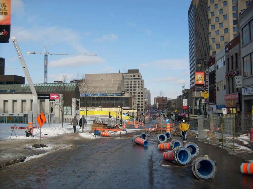 Saint-Laurent Boulevard during it's sidewalk expansionOuterworld