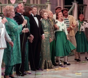 No, that's Nancy Reagan, not a drag queen. http://www.ipolitics.ca/2015/03/19/tbt-harmonizing-at-the-shamrock-summit/