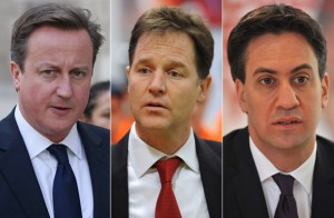 Cameron, Clegg, Milliband (or Right of Centre, Centre, and Kinda Centre) http://www.thesun.co.uk/sol/homepage/news/politics/5346103/David-Cameron-Ed-Miliband-and-Nick-Clegg-in-joint-plea-for-Syria.html