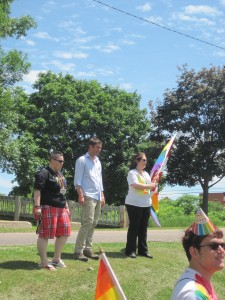 Leaders of the 2nd Annual Pride Parade including Crystal Barbieri (right) and Jeff Lehoux (center)